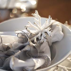 Silver and white place setting