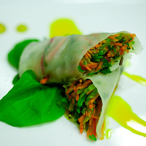 Vegetables in a rice paper wrap