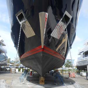 Bow of yacht during dry dock